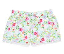 Nautica Floral Print Tulip Hem Short With Crochet, Green/Pink/Red