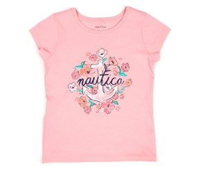 Nautica Girls Floral Anchor Tee, Pink