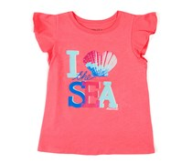 Nautica Girls Ruffle-Sleeve Tee, Dark Pink