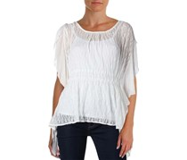 Free People June Split-Sleeve Sheer Lace Top,  Ivory