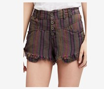 Free People High-Rise Printed Frayed Short, Moss