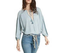 Women's  Just A Henley Linen Blend Top, Oasis Heather Blue