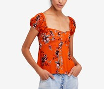 Free People Close To You Floral Blouse, Orange
