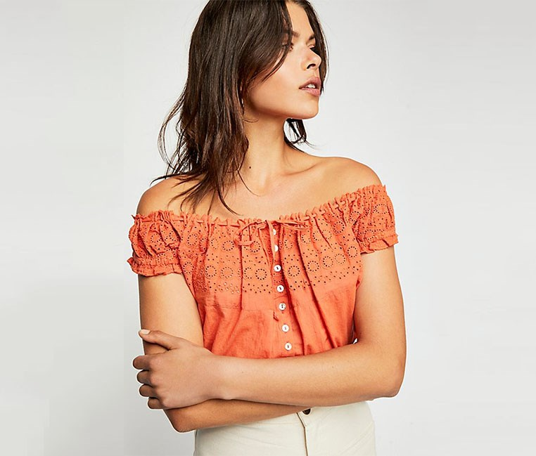 Eyelet You A Lot Croppe Tops, Orange