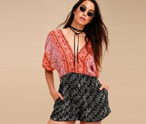 Free People Arizona Printed Plunging Rompers, Red Combo