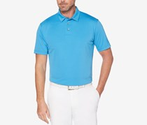 PGA Tour Mens Tonal-Print Polo, Azure Blue