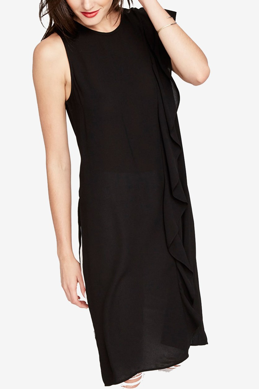 Womens Ruffle-Trimmed Tunic Dress, Black