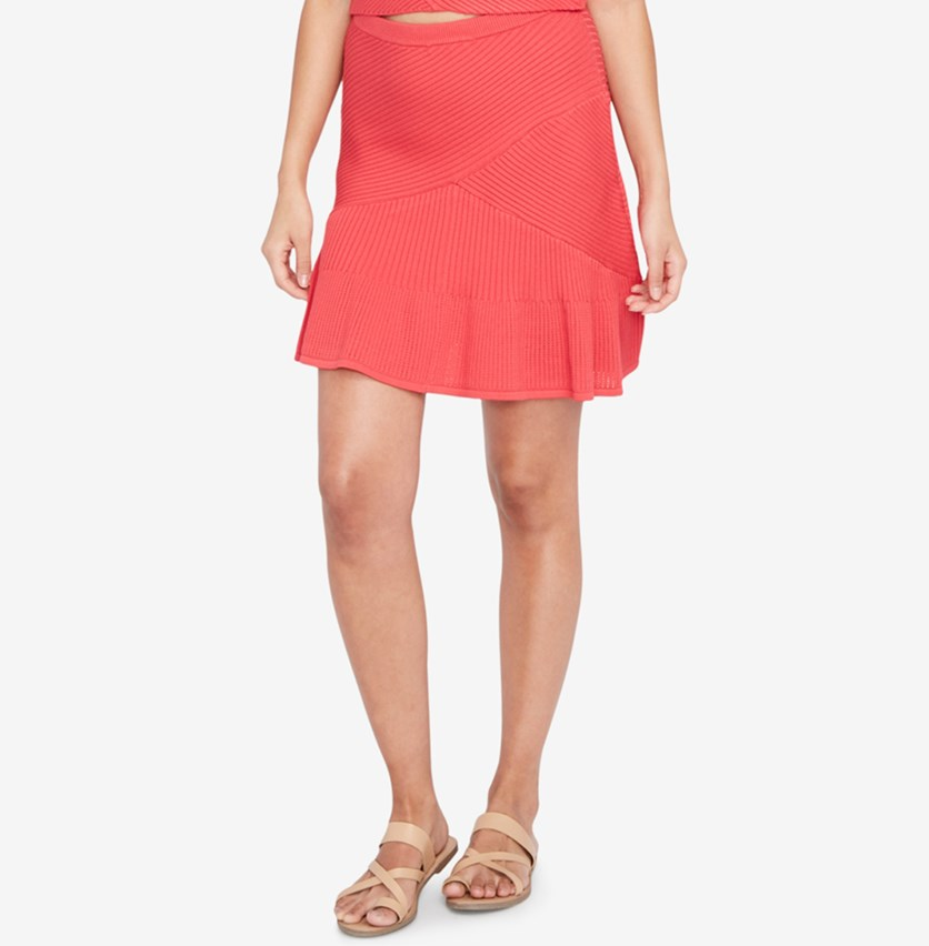 Ribbed Fit Flare Skirt, Paradise