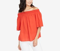Rachel Roy Women Cotton Off-The-Shoulder Top, Lava