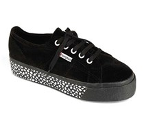 Superga Women's Suede Thick Sneaker, Black