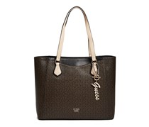 Guess Women's Diem Logo-Print Tote, Natural/Brown