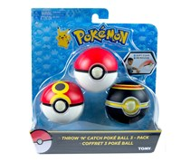 Pokemon Throw N' Catch Poke Ball Pack of 3, Red/Black