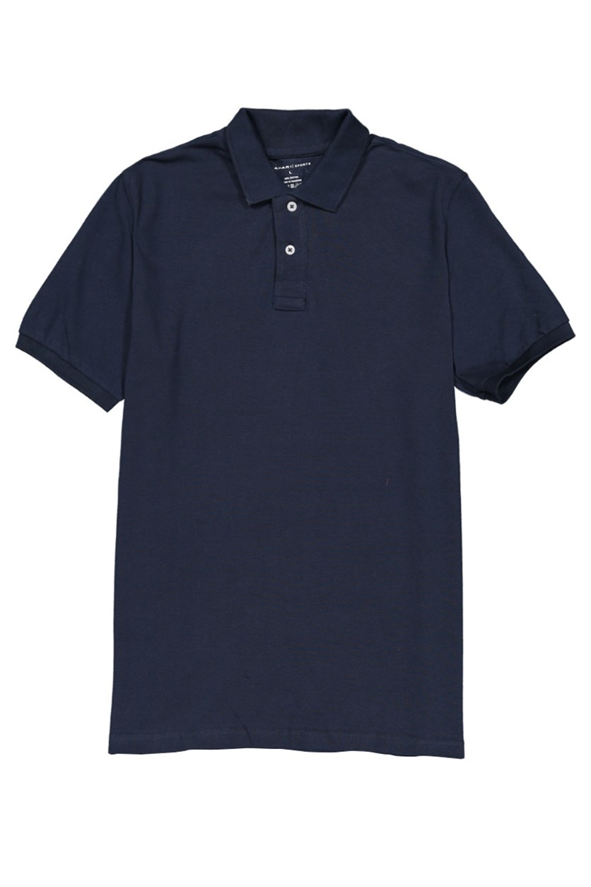 Men's Solid Short Sleeve Polo Shirt, Navy