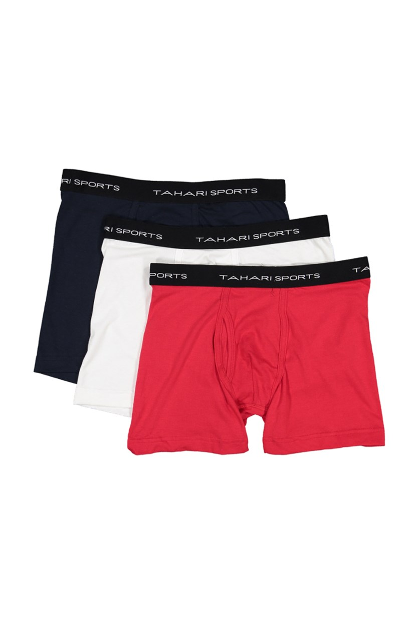 Classic Fit 3 Boxer's Briefs, Red/White/Navy