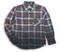 Sovereign Code Boys' Dip-Dyed Plaid Shirt, Black/Red