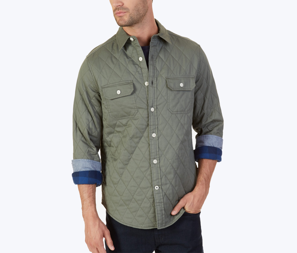 Men's Quilted Twill Shirt, Hillside Olive