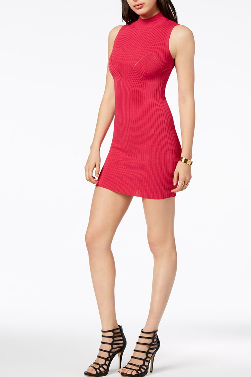 Kate Body-Con Mini Sweater Dress, Candy Apple Pink