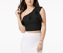 GUESS Molly Cropped One-Shoulder Top, Jet Black