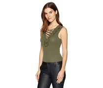 Guess Bessie Sleeveless Lattice Bodysuit, Army Olive