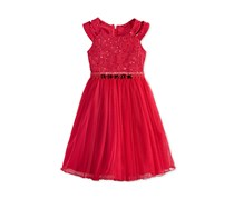 Bonnie Jean Girls Sequin & Lace Dress, Red