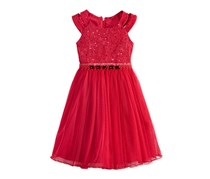 Bonnie Jean Toddler Girls Sequin & Lace Dress, Red