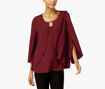 Ny Collection Keyhole Cape Blouse, Pomegranate