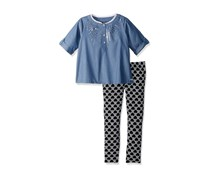 Kensie Little Girls' 2 Piece Fashion Top And Hearts Legging Set, Black/Chambray