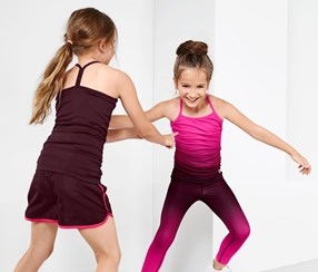 Girl's Sports Tops, Set of 2, Maroon/ Pink