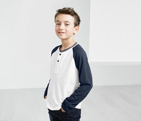 Boy's Henley Long sleeve T-Shirt, Navy Blue/ White.