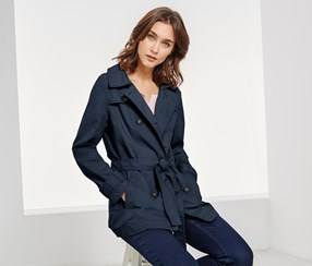 Women's Short Trench Coat, Navy Blue