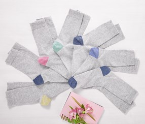 Women's Socks 7 Pairs, Gray/Pink/Blue/Green
