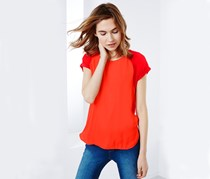 Women's Blouse Top With Woven Insert, Orange