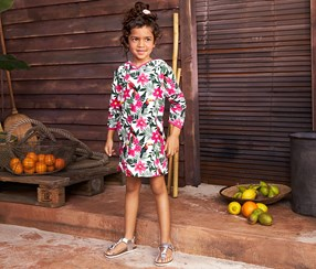 Girls Towelling Dress, Floral