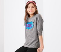 Girl's Long-Sleeved Top with Reversilble Sequins, Grey