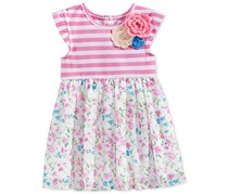 Marmellata Baby Girls, Stripe Flower Dark Pink