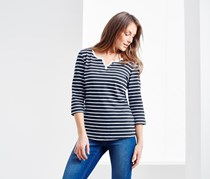 Women's Top With Cropped Sleeves, Navy/White