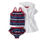 Carters Baby Girls 3-Pieces, Swimsuit With Cover Up, Navy Blue/Red/White