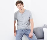 Men's Henley Shirt, Gray
