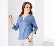Women's Blouse Top With Cropped Sleeves, Blue