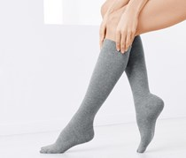 Women's Knee-Length Support Socks 2 Pairs, Grey