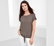 Women's Top With Woven Insert, Brownish-Gray