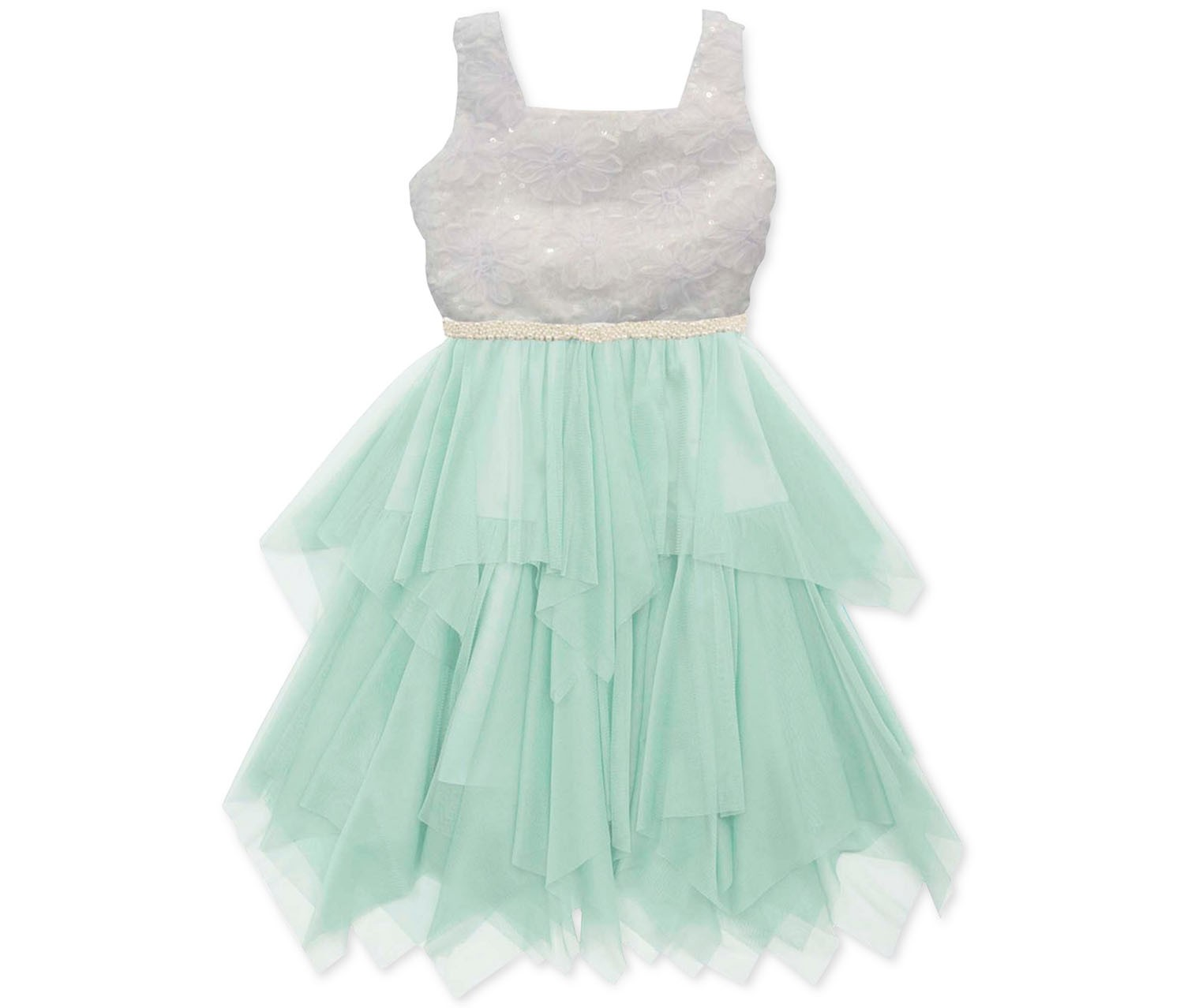 Rare Editions Girls Lace and Mesh Dress, White/Green