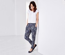 Women's Printed Woven Trousers, Navy Blue
