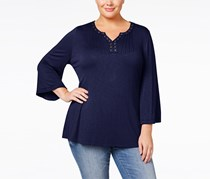 Style & Co Women's Split-neck Stretch Blouse Top, Navy Blue