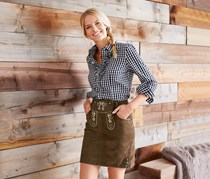Women's Traditional Leather Skirt, Brown
