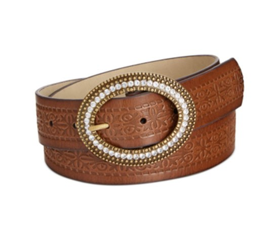 Style & Co Embossed Pant Belt, Brown