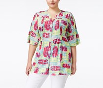 Melissa McCarthy Plus Size Short-Sleeve Top, Marron/Yellow