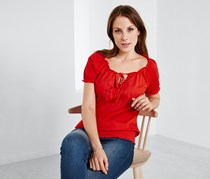 Women's Top With Embroidery, Red