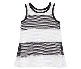 Amy Coe Baby Girls Mesh Stripe Dress With Pants Set, Black/White