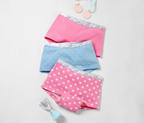 Girls Panties, 3 Pairs of Shorts, Pointed Pink/Blue